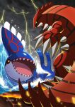 black_cloud claws clouds cloudy_sky commentary_request creature enishi_(menkura-rin10) eye_contact gen_3_pokemon groudon highres kyogre legendary_pokemon looking_at_another no_humans open_mouth pokemon pokemon_(creature) rock sharp_teeth signature sky teeth thunder water waves yellow_eyes