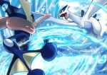 battle commentary_request creature enishi_(menkura-rin10) eye_contact fangs flying gen_2_pokemon gen_6_pokemon greninja highres legendary_pokemon looking_at_another lugia no_humans pokemon pokemon_(creature) signature water