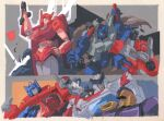 1girl 6+boys autobot clenched_hands cog_(transformers) decepticon elita_one gun hand_on_hip holding holding_gun holding_weapon impactor looking_at_viewer looking_down marble-v mecha mirage_(transformers) multiple_boys no_humans open_hand optimus_prime pointing ratchet red_eyes sideswipe sixgun smoke traditional_media transformers transformers:_war_for_cybertron_trilogy v-fin visor weapon