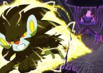 :3 battle clenched_teeth commentary_request creature electricity emphasis_lines enishi_(menkura-rin10) floating full_body gen_4_pokemon ghost highres looking_at_another luxray mismagius no_humans pokemon pokemon_(creature) running signature teeth