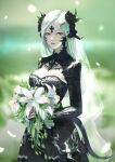 1girl absurdres au_ra black_flower black_rose blurry blurry_background bouquet dress final_fantasy final_fantasy_xiv flower hair_flower hair_ornament hairclip highres holding holding_bouquet horns long_hair parted_lips pink_lips plant red_eyes rose sample solo tail veil watermark wedding_dress white_flower white_hair yi_cat