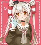 1girl amatsukaze_(kantai_collection) anchor_symbol brown_dress brown_eyes choker cocoperino commentary_request dress gloves hair_tubes hat kantai_collection lifebuoy_ornament long_hair mini_hat pink_background sailor_dress silver_hair smokestack_hair_ornament solo two_side_up waving white_gloves windsock