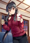 1girl alternate_costume bangs bare_shoulders black_hair black_pants blush breasts couch cup hair_between_eyes holding holding_cup ichinomiya_(blantte) indoors kantai_collection long_hair medium_breasts mug night pants ponytail red_eyes red_sweater ribbed_sweater sidelocks smile solo steam sweater window yahagi_(kantai_collection)