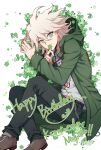 1boy bangs black_footwear black_pants character_name clover coat commentary_request danganronpa_(series) danganronpa_2:_goodbye_despair dated four-leaf_clover from_above green_coat grey_eyes grey_hair grey_shirt hair_between_eyes happy_birthday highres holding hood hood_down hooded_coat komaeda_nagito long_sleeves looking_at_viewer lying male_focus medium_hair on_side open_clothes open_coat pants print_shirt shaguo shirt simple_background smile solo symbol_commentary white_background white_hair
