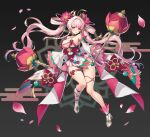 1girl absurdres ahoge anzumame asymmetrical_footwear bangs bare_shoulders blush braid breasts commentary_request detached_sleeves egasumi eyebrows_visible_through_hair flower hair_flower hair_ornament highres holding long_hair looking_at_viewer lotus nail_polish original petals pink_eyes pink_hair pink_nails revealing_clothes seigaiha signature skindentation solo thigh_strap twin_braids twintails very_long_hair wide_sleeves
