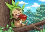apple chespin closed_eyes clouds commentary_request day eating enishi_(menkura-rin10) food fruit gen_6_pokemon highres holding holding_food holding_fruit leaf open_mouth outdoors pokemon sitting sky teeth tongue tree