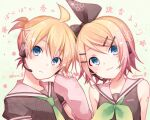 1boy 1girl ahoge alternate_costume bass_clef blonde_hair blue_eyes blush bow brother_and_sister cherry_blossom_print detached_sleeves floral_print hair_bow hair_ornament hairclip hand_up head_to_head headset kagamine_len kagamine_rin kuroi_(liar-player) necktie sailor_collar short_hair siblings tattoo translated treble_clef twins twitter_username upper_body vocaloid