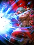 abs bare_pecs biceps chest_harness cyborg glowing glowing_eye harness heterochromia highres kaiser_wave manly mechanical_arm mechanical_parts muscular muscular_male official_art omega_rugal open_hands pants pectorals prosthesis red_pants rugal_bernstein snk suspenders suspenders_slip the_king_of_fighters the_king_of_fighters_'95 the_king_of_fighters_all-stars toned toned_male white_hair