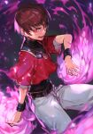 1boy aura belt chris_(kof) evil_eyes evil_smile fire hungry_clicker jewelry leotard male_focus necklace open_mouth orochi_chris pants red_eyes simple_background smile solo spiky_hair the_king_of_fighters