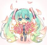 1girl aqua_eyes aqua_hair aqua_neckwear black_legwear black_skirt bouquet chibi commentary falling_petals flower full_body grey_shirt hair_ornament happy_tears harusamesyota hatsune_miku holding holding_bouquet long_hair looking_at_viewer necktie open_mouth petals pink_flower pink_rose pleated_skirt rose shirt skirt smile solo spring_onion tears thigh-highs twintails very_long_hair vocaloid white_background