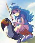 1girl ahoge blue_eyes blue_headwear closed_mouth collared_shirt commentary elite_four eyelashes gen_7_pokemon golf_club highres holding kahili_(pokemon) knees long_hair looking_at_viewer mole mole_under_eye momoji_(lobolobo2010) orange_legwear pokemon pokemon_(creature) pokemon_(game) pokemon_sm shirt shoes short_sleeves sketch socks squatting striped striped_shirt toucannon visor_cap