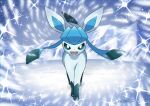 commentary_request creature enishi_(menkura-rin10) full_body gen_4_pokemon glaceon highres ice looking_at_viewer no_humans outdoors pokemon pokemon_(creature) signature snow solo sparkle standing
