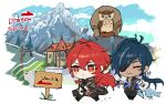 2boys aki_shou animal antenna_hair bangs bird black_gloves blue_hair chibi closed_eyes closed_mouth clouds dark_skin dark_skinned_male day diluc_(genshin_impact) eyepatch genshin_impact gloves highres house jacket jewelry kaeya_(genshin_impact) long_hair long_sleeves male_focus mountain multicolored_hair multiple_boys outdoors owl pants red_eyes redhead sign single_earring sky smile streaked_hair walking