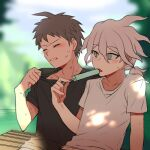 2boys ahoge alternate_costume bangs black_shirt blurry blurry_background blush brown_hair closed_eyes collarbone commentary_request danganronpa_(series) danganronpa_2:_goodbye_despair food grey_hair hinata_hajime komaeda_nagito male_focus medium_hair multiple_boys open_mouth outdoors popsicle shaguo shirt shirt_pull short_hair short_ponytail short_sleeves sweat upper_body white_shirt