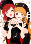 2girls :d ;d absurdres bangs black_shirt blonde_hair blush chain chinese_clothes choker eyebrows_behind_hair gradient gradient_background hat head_on_another's_shoulder head_rest head_tilt heart heart_hands heart_hands_duo hecatia_lapislazuli highres junko_(touhou) kaisenpurin long_hair looking_at_viewer medium_hair multicolored multicolored_clothes multicolored_skirt multiple_girls nail_polish off-shoulder_shirt off_shoulder one_eye_closed open_mouth orange_hair pink_background plaid plaid_skirt red_eyes red_nails redhead shirt short_sleeves skirt smile swept_bangs t-shirt touhou upper_body wide_sleeves yuri