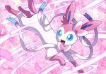blue_eyes commentary_request enishi_(menkura-rin10) fangs gen_6_pokemon highres no_humans open_mouth paws petals pokemon pokemon_(creature) signature smile solo sylveon toes tongue