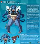 1boy 1girl artist_name blastoise blue_hair breasts brown_eyes brown_hair dark_skin dark_skinned_female english_text eyebrows_visible_through_hair gen_1_pokemon hat hat_feather highres kinkymation large_breasts personification poke_ball pokemon profile purple_hair tail turtle_shell twintails