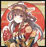 1girl ahoge alternate_costume brown_hair dairyo3 double_bun flower hair_flower hair_ornament hairband headgear highres japanese_clothes kantai_collection kimono kongou_(kantai_collection) long_hair obi print_kimono red_kimono remodel_(kantai_collection) sash smile solo upper_body violet_eyes wide_sleeves