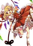 1girl absurdres ascot baba_(baba_seimaijo) blonde_hair bobby_socks bow brown_footwear buttons collared_shirt crystal eyebrows_visible_through_hair flandre_scarlet frilled_skirt frills hair_bow highres holding holding_weapon laevatein_(tail) leg_up looking_at_viewer medium_hair one_side_up open_mouth pointy_ears puffy_short_sleeves puffy_sleeves red_bow red_eyes red_skirt red_vest shirt short_sleeves side_ponytail simple_background skirt skirt_set smile socks solo tail teeth touhou vest weapon white_background white_headwear white_legwear white_shirt wings wrist_cuffs yellow_neckwear