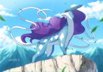 blurry clouds commentary_request day enishi_(menkura-rin10) from_below gen_2_pokemon highres leaves_in_wind legendary_pokemon looking_back mountainous_horizon no_humans outdoors pokemon pokemon_(creature) signature sky solo standing suicune