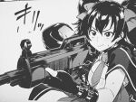 1girl aiming assault_rifle bangs black_eyes black_gloves black_hair blush bow closed_mouth collar collared_shirt commentary_request fingerless_gloves girls_frontline gloves grey_background greyscale gun hair_bow hair_ornament highres holding holding_gun holding_weapon long_hair looking_at_viewer monochrome necktie qbz-97_(girls_frontline) rifle shirt short_necktie short_sleeves simple_background solo sound_effects sweat tachibana_roku twintails upper_body weapon