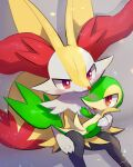 :o blush braixen commentary_request eye_contact eyelashes gen_5_pokemon gen_6_pokemon highres looking_at_another no_humans nullma on_lap open_mouth pokemon pokemon_(creature) pokemon_on_lap red_eyes snivy starter_pokemon tongue