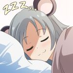 1girl :3 animal_ears cato_(monocatienus) closed_eyes commentary face grey_hair mouse_ears nazrin pillow short_hair sleeping smile solo touhou under_covers zzz