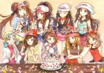 6+girls :o :q arms_behind_back bangs baseball_cap beanie black_hair bob_cut boots bow bow_hairband bowl brown_eyes brown_hair cake cardigan chopsticks commentary_request cropped_jacket dawn_(pokemon) double_bun eating eyelashes eyewear_on_headwear feeding floating_hair floral_print food gloria_(pokemon) green_hair green_headwear grey_cardigan hair_ornament hairband hairclip hat hilda_(pokemon) holding holding_bowl holding_chopsticks jacket kris_(pokemon) leaf_(pokemon) legwear_under_shorts long_hair long_sleeves may_(pokemon) multiple_girls noodles pantyhose pink_bow pink_footwear pink_headwear pokemon pokemon_(game) pokemon_bw pokemon_bw2 pokemon_dppt pokemon_frlg pokemon_gsc pokemon_oras pokemon_sm pokemon_swsh pokemon_xy raglan_sleeves red_hairband red_headwear red_skirt rosa_(pokemon) scarf selene_(pokemon) serena_(pokemon) shirt short_shorts short_sleeves shorts skirt sleeveless sleeveless_shirt smile sunglasses t-shirt tam_o'_shanter tongue tongue_out translation_request twintails two-tone_headwear vest visor_cap white_headwear white_jacket yellow_headwear yellow_shorts yomogi_(black-elf)