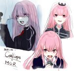 1girl alternate_costume bangs blunt_bangs collared_shirt eyebrows_visible_through_hair formal haruno_(hal869_) highres holding holding_microphone hololive hololive_english looking_to_the_side microphone mori_calliope multiple_views music my_chemical_romance open_mouth pink_eyes pink_hair rain red_neckwear shirt singing suit tiara veil virtual_youtuber