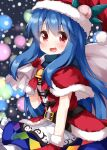 1girl bag bangs bell belt black_belt blue_hair blue_skirt blurry blurry_background capelet christmas christmas_lights cowboy_shot eyebrows_visible_through_hair food frilled_skirt frills fruit gloves hair_between_eyes hat highres hinanawi_tenshi holding holding_bag long_hair looking_at_viewer open_mouth peach pom_pom_(clothes) rainbow_order red_capelet red_eyes red_gloves red_headwear ruu_(tksymkw) santa_costume santa_hat skirt smile snowing solo standing touhou
