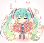 1girl :3 aqua_hair aqua_neckwear black_legwear black_skirt bouquet chibi closed_mouth commentary falling_petals flower full_body grey_shirt hair_ornament harusamesyota hatsune_miku holding holding_bouquet long_hair looking_at_viewer necktie petals pink_flower pink_rose pleated_skirt rose shirt skirt smile solo spring_onion thigh-highs twintails very_long_hair vocaloid white_background