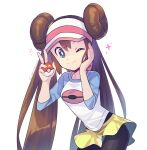 1girl bangs black_legwear bow brown_hair commentary double_bun holding holding_poke_ball leaning_forward legwear_under_shorts long_hair looking_at_viewer momoji_(lobolobo2010) pantyhose pink_bow poke_ball poke_ball_(basic) pokemon pokemon_(game) pokemon_bw2 raglan_sleeves rosa_(pokemon) shirt short_shorts shorts sidelocks solo twintails visor_cap watermark yellow_shorts