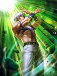 1boy abs arms_up bare_pecs biceps chest_tattoo crossed_arms glowing highres looking_at_viewer manly muscular muscular_male official_art open_hands orochi_(kof) outstretched_arms pants snk tattoo the_king_of_fighters the_king_of_fighters_'97 the_king_of_fighters_all-stars white_hair white_pants