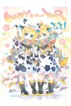 1boy 1girl animal_costume animal_print bangs bell black_collar black_footwear blonde_hair blue_eyes boots bow box bubble character_print cherry_blossoms chinese_zodiac collar commentary cow cow_costume cow_print cow_tail facepaint food fruit full_body hagoita hair_bow hair_ornament hairclip hand_up hanetsuki happy_new_year hatsune_miku highres holding holding_hands holding_paintbrush kadomatsu kagami_mochi kei_(keigarou) looking_at_viewer mandarin_orange neck_bell new_year one_eye_closed open_mouth paddle paintbrush plaid plaid_scarf sailor_collar scarf shared_scarf shide short_hair short_ponytail sleeping smile spiky_hair standing swept_bangs tail tail_bow tail_ornament vocaloid white_bow year_of_the_ox yellow_bow