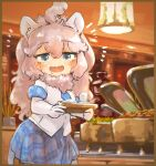 1girl animal_ears big_hair blue_eyes blue_neckwear blue_sky blush buffet commentary_request elbow_gloves eyebrows_visible_through_hair fur_collar gloves kemono_friends lion_ears lion_girl lion_tail long_hair necktie open_mouth plaid plaid_neckwear plaid_skirt plaid_trim pleated_skirt saliva shirt skirt sky solo tail toki_reatle tray white_fur white_gloves white_hair white_lion_(kemono_friends) white_shirt