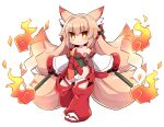 >:) 1girl animal_ears bangs bare_shoulders bell black_leotard blush breasts brown_eyes brown_hair closed_mouth copyright_request detached_pants detached_sleeves eyebrows_visible_through_hair fox_ears fox_girl fox_tail full_body gohei hair_between_eyes highres hitodama holding jingle_bell kitsune leotard long_hair long_sleeves medium_breasts multiple_tails naga_u red_footwear short_eyebrows simple_background smile socks solo standing standing_on_one_leg tabi tail thick_eyebrows two_tails v-shaped_eyebrows very_long_hair white_background white_legwear white_sleeves wide_sleeves zouri