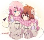 2girls bangs blush brown_coat chiyoda_momo coat cold commentary_request curled_horns demon_girl demon_horns demon_tail eyebrows_visible_through_hair hair_ornament highres horns long_sleeves looking_at_viewer machikado_mazoku mel_(melty_pot) multiple_girls pink_hair pink_scarf plaid plaid_scarf red_eyes redhead scarf shared_scarf short_hair smile tail x_hair_ornament yoshida_yuuko_(machikado_mazoku)