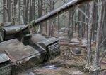 absurdres caterpillar_tracks day english_commentary enjinedison forest ground_vehicle hat helmet highres military military_hat military_vehicle motor_vehicle nature no_humans original panzerkampfwagen_panther scenery signature tank tree weapon