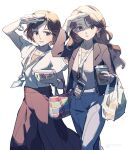 2girls arm_up bag bangs bracelet brown_hair brown_jacket brown_skirt cellphone collarbone commentary_request cup disposable_cup earrings eyebrows_visible_through_hair eyelashes fingernails handbag highres holding jacket jewelry lanyard looking_at_viewer multiple_girls open_mouth original pants phone short_hair short_sleeves simple_background skirt smile tennohi timestamp