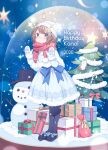 1girl absurdres black_legwear blurry blurry_background blush brown_hair christmas_tree commentary_request deer_antlers full_body gift highres issindotai kano_(singer) looking_at_viewer original pantyhose scarf short_hair snow_globe snowing snowman solo violet_eyes virtual_youtuber winter_clothes