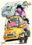 1990s_(style) 1girl 6+boys aqua_hair baby bandaid baseball_cap black_eyes black_hair bulma cape car character_name colored_skin copyright_name dragon_ball dragon_ball_z driving green_skin grin ground_vehicle hat kuririn logo long_hair motor_vehicle multiple_boys muscular muscular_male official_art open_mouth piccolo pink_shirt pointy_ears shirt shorts simple_background sleeves_rolled_up smile son_gohan son_goku suspenders sweatdrop toriyama_akira trunks_(dragon_ball) turban vegeta white_background