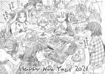 2021 3boys 6+girls absurdres ahoge bangs berserker_(fate/zero) bowl box breasts cup double_bun dress earrings eating fate/apocrypha fate/extra fate/extra_ccc fate/grand_order fate_(series) food fujimaru_ritsuka_(female) gift gift_box graphite_(medium) greyscale hair_ribbon happy_new_year headpiece highres horns jack_the_ripper_(fate/apocrypha) jeanne_d'arc_(fate)_(all) jeanne_d'arc_alter_santa_lily jewelry kama_(fate/grand_order) kojima_takeshi large_breasts leonidas_(fate/grand_order) long_hair long_sleeves monochrome multiple_boys multiple_girls new_year one_side_up open_mouth plate ribbon scar scar_on_face scathach_(fate)_(all) scathach_skadi_(fate/grand_order) sesshouin_kiara short_hair sitonai small_breasts smile spartacus_(fate) striped striped_ribbon table tiara traditional_media wavy_hair yang_guifei_(fate/grand_order)