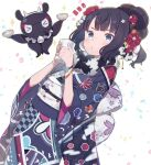 >_< 1girl :o animal bangs black_hair black_kimono blue_eyes bowl chinese_zodiac closed_eyes commentary_request cow_horns cup drinking_glass dutch_angle eyebrows_visible_through_hair fake_horns fate/grand_order fate_(series) floral_print hair_ornament hands_up highres holding holding_bowl holding_cup horns japanese_clothes katsushika_hokusai_(fate/grand_order) kimono looking_at_viewer notice_lines obi octopus parted_lips print_kimono sash sparkle_background tokitarou_(fate/grand_order) totatokeke white_background year_of_the_ox