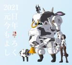 1girl 2021 animal_ears animal_print bangs bell black_eyes black_hair blue_background blue_eyes chinese_zodiac clenched_hand clenched_hands cow_ears cow_print happy_new_year highres horns jgsdf_type_07_tank_natchin kukuri_natsuki looking_ahead mecha moi_moi7 new_year original pilot_suit science_fiction short_hair year_of_the_ox