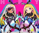 2girls alyce_(dohna_dohna) black_bodysuit black_gloves blonde_hair blue_eyes bodysuit bodysuit_under_clothes braid checkered clock collarbone dark_skin dohna_dohna dress eyepatch frilled_sleeves frills gloves hair_ornament hairband happy_new_year head_tilt holding_hands long_sleeves looking_at_viewer multiple_girls new_year open_mouth pink_background pink_gloves shunin siblings side_braids simple_background sisters twins white_dress yami_(dohna_dohna)