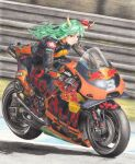 1girl 2021 barrier bibendum biker_clothes bikesuit black_footwear black_gloves character_name chinese_zodiac colored_pencil_(medium) day ex-keine expressionless gloves green_hair ground_vehicle highres horn_ornament horn_ribbon horns kamishirasawa_keine ktm_ag long_hair looking_to_the_side michelin motor_vehicle motorcycle number outdoors racetrack red_bull red_eyes ribbon rpracing solo sponsor touhou traditional_media year_of_the_ox