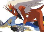 blaziken blue_eyes commentary_request creature enishi_(menkura-rin10) eye_contact feet_out_of_frame gen_3_pokemon gen_8_pokemon highres inteleon interspecies looking_at_another no_humans pokemon pokemon_(creature) signature simple_background white_background yellow_eyes