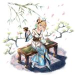 1girl absurdres amano_pikamee bench blonde_hair cup green_eyes highres honkivampy japanese_clothes kimono long_sleeves open_mouth petals sharp_teeth short_hair sitting smile solo teeth tree_branch virtual_youtuber voms white_background
