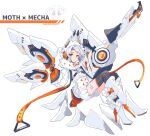 1girl absurdres boots chest_strap dated flat_chest floating gloves gun high_heel_boots high_heels highres holding holding_gun holding_weapon hood looking_at_viewer macchoko mecha_musume mechanical_wings open_hand orange_eyes orange_gloves original science_fiction short_hair solo thigh-highs weapon white_hair wings