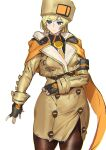 1girl arm_scarf ashiomi_masato black_gloves blonde_hair blue_eyes breasts brown_headwear brown_legwear buttons coat eyebrows_visible_through_hair fingerless_gloves fur_hat gloves guilty_gear guilty_gear_strive hair_between_eyes hand_on_own_chest hat jacket large_breasts long_hair millia_rage pantyhose smile solo thigh-highs thighs ushanka